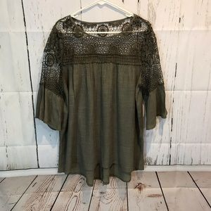 Olive green thin gauze-like top w/lace detail.